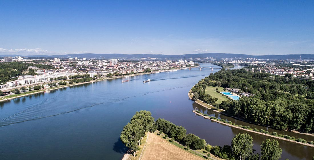 Confluence of rivers Main and Rhein, Germany – aerial panoramic view