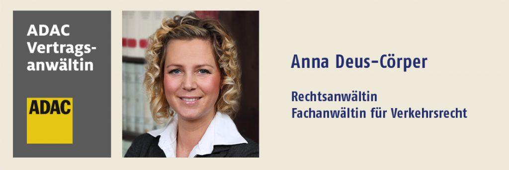 ADAC Vertragsanwältin Anna Deus-Cörper